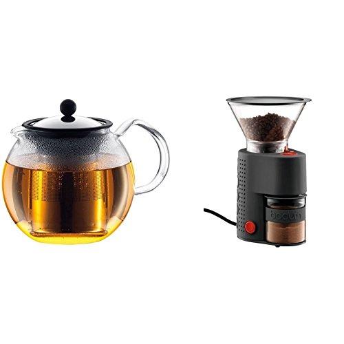 Bodum 1802-16 Assam Théière à Piston Filtre inox Finition Inox Brillant 1,5 L + broyeur à café électrique meule inox Noir