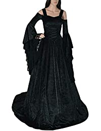 Guiran Abito Lungo Donna Elegante Vestiti Medievali Costumi Carnevale  Rinascimento Abiti Nero 5XL 71d34ac545b