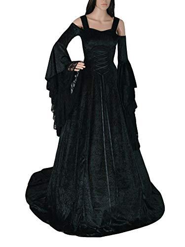 Guiran Abito Lungo Donna Elegante Vestiti Medievali Costumi Carnevale Rinascimento Abiti Nero 4XL