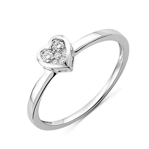 Miore Damen-Ring 750 Weißgold Herz mit Brillanten Gr. 56 MF8001RP