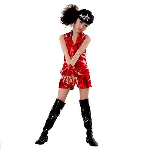 (HXQXPY Mädchen Cosplay PU Kostüm Set Tanzkleid Outfits ärmellos Top + Shorts+ Handschuhe,Silver,170)