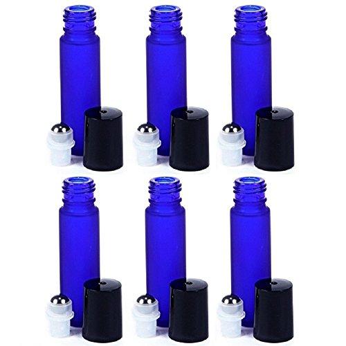10 ml Roll-on Glasflaschen mit Edelstahl Deo-Roller, 6-Stück Set für Aromatherapie, ätherische Öle, Parfüm, Lippenbalsam, blau, 6