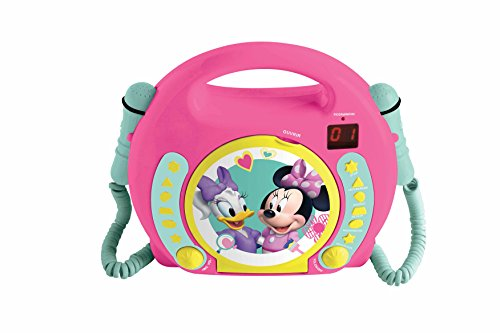 Lexibook RCDK100MN Micky Maus und Freunde Radio 2 Mikrofonen, Kleinkind CD Player, Disney Minnie (Minnie Mouse Mp3-player)