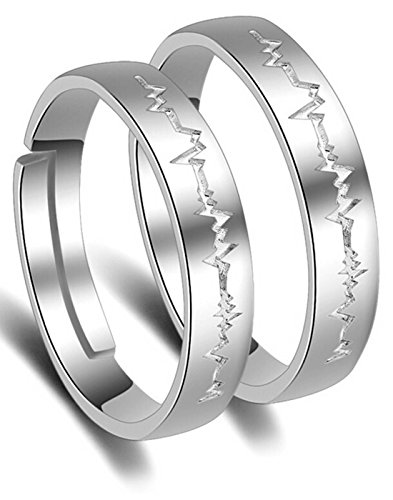 Karatcart Platinum Plated Elegant Couple Adjustable Band Ring For Men & Women