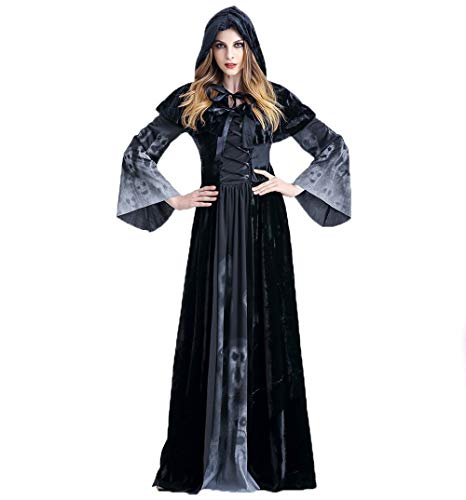 Dehots Halloween Kostüm Cosplay Hexe Maxi Kleid Damen Frauen Karneval Fasching Cosplay Deco Costume Kapuze Vampir Zauberer Grim Reaper für Damen Erwachsene - Grim Reaper Kostüm Frauen