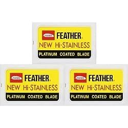 30 Cuchillas de afeitar Feather - New Hi-Stainless + 5 cuchillas de afeitar Rainbow Super Stainless