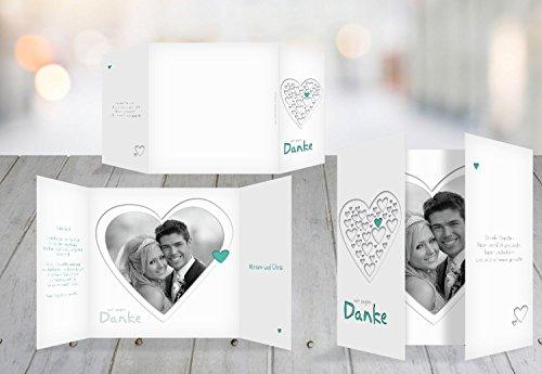 Kartenparadies Danksagung für Hochzeitsgeschenke Hochzeit Dankeskarte Herzform, hochwertige Danksagungskarte Hochzeitsglückwünsche inklusive Umschläge | 20 Karten - (Format: 145x145 mm) Farbe: AquaTürkis