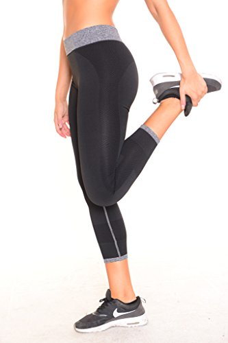 B.BANG Women's Capri Tights Running Yoga Pants Workout Pants Black