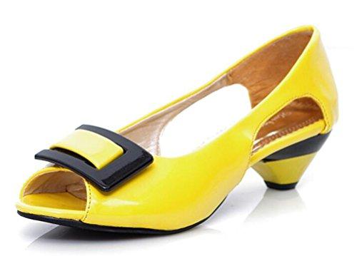 Easemax Damen Elegant Peep Toe Slipper ohne Verschluss Chunky Heels Sandalen Gelb 40 EU Metallic Patent Peep Toe Heels