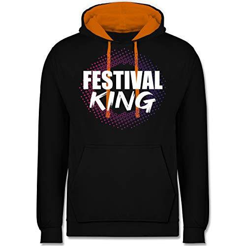Festival - Festival King bunt - XS - Schwarz/Orange - JH003 - Kontrast Hoodie - Hoodie Lime Männer Green