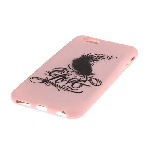 Felfy Tasche Apple iPhone SE/5S/5 Hülle,Apple iPhone SE/5S/5 Case Ultra Dünne Slim Soft Gel TPU Silikon Handyhülle Schutzhülle Durchsichtig TPU Case Backcover Anti-Shock Anti-Sturz Case Niedlich Bonbo Rosa Feder