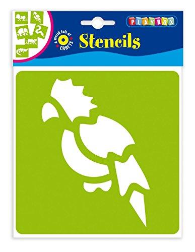 Playbox PBX2470637 2470637 Schablonen Dschungel, 6 Stück, Größe 14,5 x 14,5 cm, Mehrfarbig