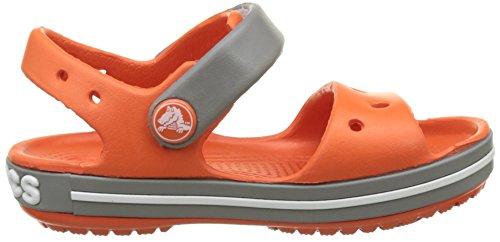 Crocs Crocband Sandal Kids Tng/Smo, Sabots Mixte Enfant Rouge (Tangerine/Smoke)