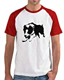 latostadora - Camiseta Jumping Border Collie para Hombre Rojo XL
