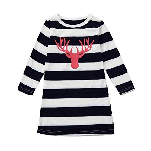 Weihnachten Kleidung Mama Tochter Kleider Hirolan Frau Baby Streifen Kleid Hirsch Drucken Lange Hülse Kinderbekleidung Familie Mädchen Baumwolle Outfits (90, Tochter) (Mama Und Tochter Halloween Kostüme)