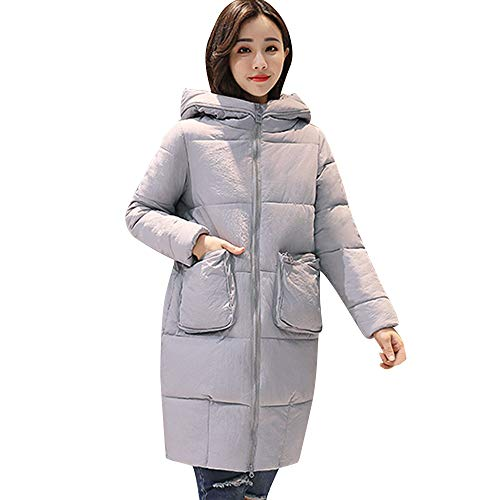 VEMOW Damen Baumwolle gefütterte Jacke Elegant Damen Winter Warm Lässige Daily Party Workout Freizeit Dicke Oberbekleidung Kapuzenmantel Slim Outwear(X1-b-Grau, EU-38/CN-M)