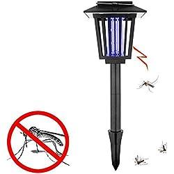 Lámpara Solar Anti Mosquitos, Lampara de la Anti-mosquito, 3 en 1 lámpara impermeable de la Energía Solar para los insectos luz al aire libre decoración del jardín Lámpara del asesino del insecto