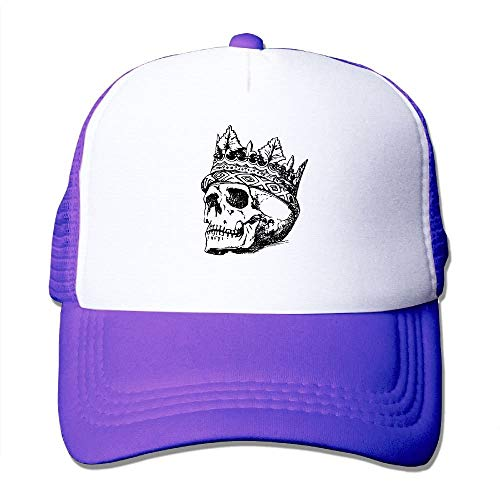 LoveBiuBiu Skull Head Crown Youth Mesh Baseball Cap Summer Adjustable Trucker Hat (Power Cap Newsboy Blue)