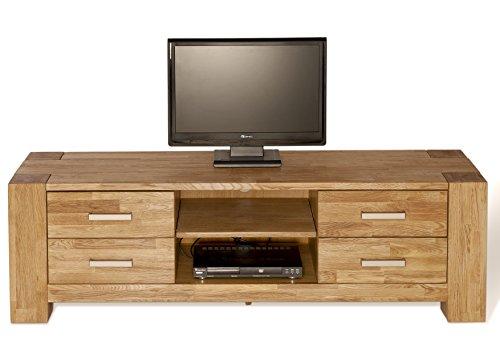 TV-Lowboard aus massivem Wildeichen Holz mit 2 Gerätefächern und 4 Schubladen 150x47 cm | Eos | Holz-Kommode Wildeiche natur geölt | Hochwertige TV-Bank aus Massiv-Holz 150cm x 47cm