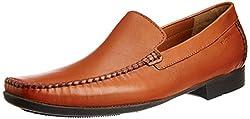 Ruosh Mens Tan Leather Formal Shoes - 10 UK/India (44 EU)(11 US)