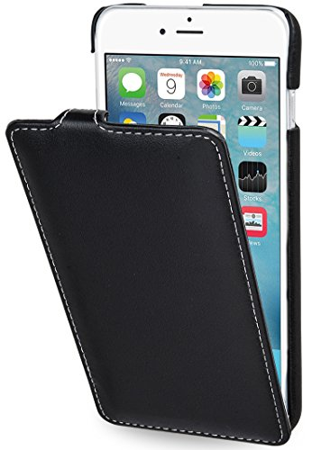 StilGut Lederhülle kompatibel mit iPhone 6s Plus vertikales Flip-Case, schwarz Nappa - Leder Iphone Case 6 Vertikal