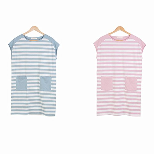 GWELL Damen Streifen Baumwolle Nachthemd Kurz Sleepshirt Nachtwäsche Schlafshirt Nachtkleid Pink