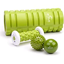 Rullo massaggiatore bastone massaggio piedi palla-riccio palla per fasce 4 pezzi nel set - dispositivi ergonomici di massaggio delle fasce indeformabili automassaggio e punto cardine per spalle collo