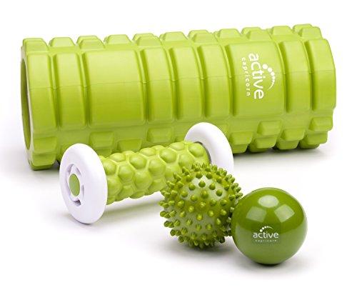 Faszienrolle Fußmassage-Stab Igelball Faszienball 4 teilig im Set - ergonomisch formbeständige Massagegeräte für Faszien Selbstmassage Triggerpunkt-Massage von Rücken Schulter Nacken Beine Fuß