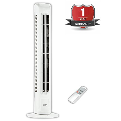 41pkwp%2BdvtL - BEST BUY #1 ANSIO Light Weight Oscillating Slim Tower Fan with Remote Control and 3-Speed 3-Wind Mode with Long 1.8 m Cable, 30-Inch, White (Batteries NOT included) Reviews uk