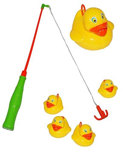 schönes Angelspiel mit 4 Enten - Angel - angeln für Kinder - mit Haken - Badewanne Spiel Fischeangeln / Kinderspiel Spiel - Wasserspielzeug Wasser Entenangeln / Entchen - Angelhaken