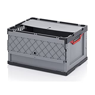 Profi-Faltbox mit Deckel 2er Set, Auer Packaging | Behälter Stapelbehälter Aufbewahrungskiste Transportbox Plastikbox Klappbox | FBD 64/32, 60x40x32 cm, 67 Liter,