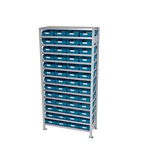 Rayonnage emboîtable avec bacs - hauteur rayonnage 2100 mm - rayonnage de base, profondeur 300 mm, 52 bacs verts - armoire pour bacs à bec armoires pour bacs à bec bacs de stockage bacs pour rayonnages emboîtables conteneurs à visser rayonnage rayonnage