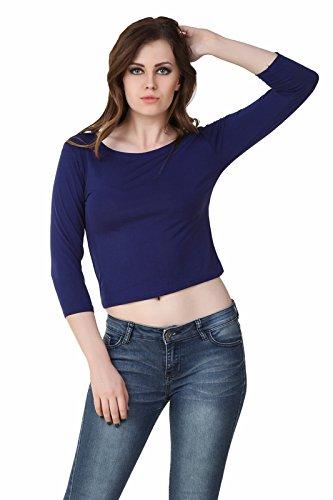 Big Pout women Blue Plain Crop round neck 3/4 sleeve tops - L size (Blue)