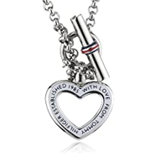Tommy Hilfiger Women's Stainless-Steel Open Heart Necklace of Length 50cm