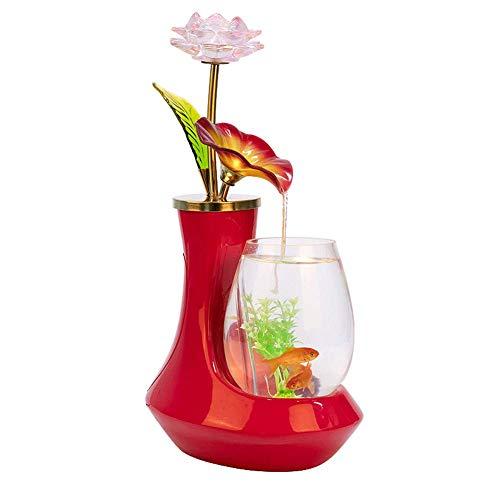 Jiangu ad acqua fontana acquario, stile europeo pesce serbatoio combinato con vetro e ceramica, può inviare regali -25cm * 18cm * 42cm