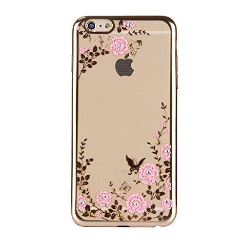 SainCat Coque iPhone 6 Plus, Housse Retour Hard Case Bumper Skin Shell,Brilliant Effect de Protection Pare-Chocs Complete Protecteurs,Transparente Clair TPU, iPhone 6S Plus silicone souple Bling Cryst Or-Fleur rose