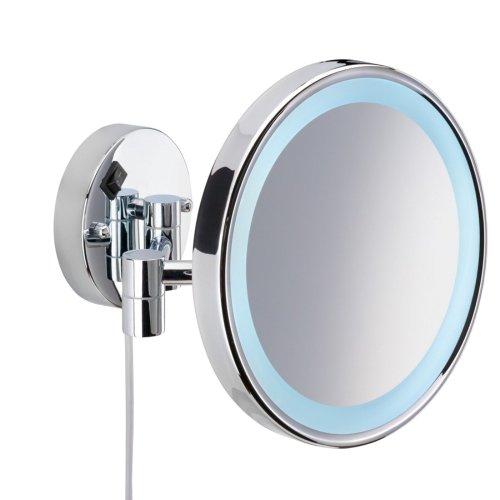 Nie Wieder Bohren MR431 miroo beleuchteter Kosmetikspiegel, 5fach Vergrößerung, Durchmesser 14 cm, verchromt inklusive Befestigungstechnik