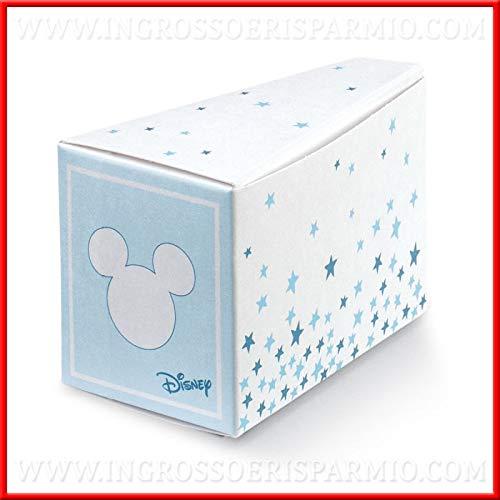 Ingrosso e risparmio 12 scatoline portaconfetti a forma di fetta di torta, firmate disney, celesti con sagoma topolino confettate, bomboniere nascita, compleanno maschio (con confetti misti)