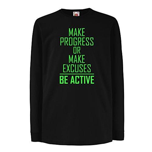 """Kinder-T-Shirt mit Langen Ärmeln """"Be Active - Leben ohne Ausreden"""" - Motivation - inspirierend tägliche Angebote für Erfolg (12-13 Years Schwarz Grün)"""