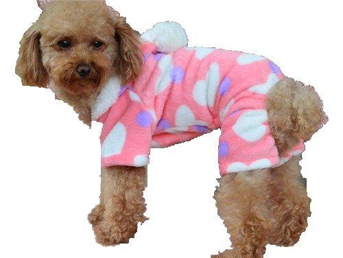 QIYUN.Z Hundemädchen Vier Beine Rosa WeißEn Herzen Weichen, Warmen Fleece Hoodie Winterkleidung Overall Mantel Pyjamas Haustier Hunde Bekleidung & Zubehör Shirts Sweater Hoodies S M L Xl Xxl - Fleece-pyjamas-herz