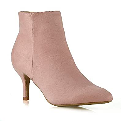 7762e2dff70 Womens Ankle Boots Low Mid Kitten Heels Ladies Zip Pointy Booties Shoes  Size (UK 5