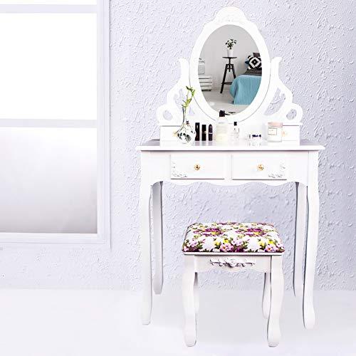 CCLIFE Weiß Schminktisch Frisiertisch mit Spiegel Hocker Set, Farbe:011-Weiss