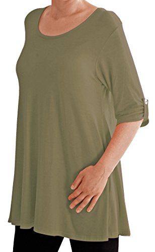 Eyecatch TM Oversize - Haut Tunique manches longues 3/4 large col rond grandes tailles- Jessica - Femme Light Kaki