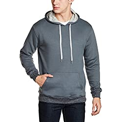 Cloth Theory Men's Regular Fit Cotton Hoodie (CTFZCNK004_Dark Grey_L)