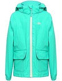 M&Co Trespass Girls Long Sleeve Pink Aqua Zip Pocket Front Unlined Waterproof Hooded Jacket