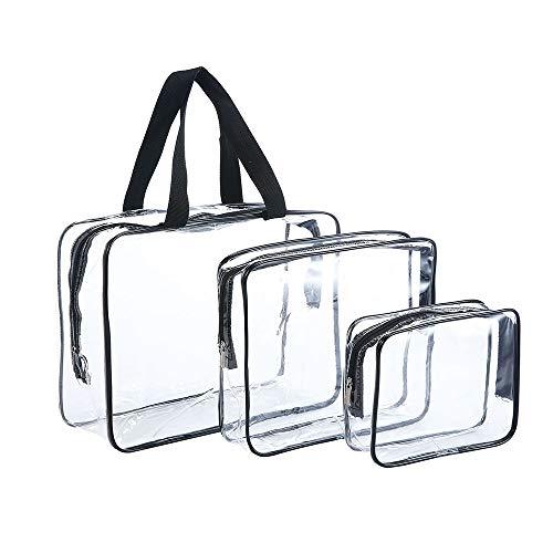 JZK 3 pcs Bolso Transparente PVC Impermeable Set Viaje