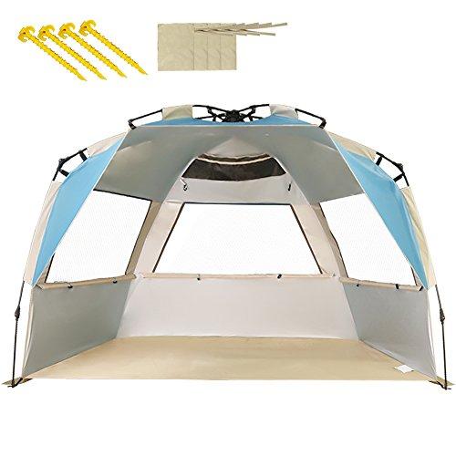 ZOMAKE Automatik Strandmuschel mit Boden Sonnenschutz UV-Schutz, Windstabil, Kleines Packmaß, Strandmuschel für Erwachsene, Familie (Blau)
