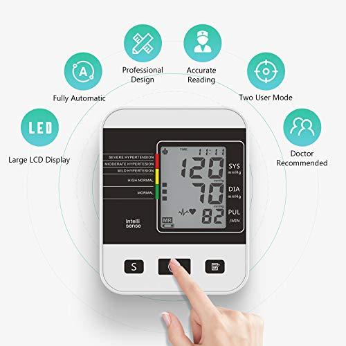 Tensiómetro de Brazo Digital,  Annsky Monitor Eléctrico de Presión Arterial Medición Automática de la Presión Arterial y pulso de frecuencia cardíaca detección, 2 memorias de usuario