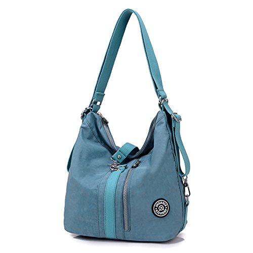Outreo Schultertasche Wasserdichte Messenger Bag Umhängetasche Damen Handtasche Designer Kuriertasche Rucksäcke Strandtasche Sporttasche für Mädchen Taschen Reisetasche Nylon Blau Two