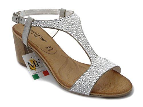 Sandalo Mercante di fiori, con tacco 6cm., sottopiede imbottito e suola in gomma antiscivolo, estivo-45704 Bianco